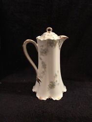 Limoge Pitcher W/ Lid 8 Tall Havilland France In Green And Havilland And Cos