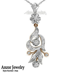 Russian Vintage Style Diamond Pendant In 18k Rose And White Gold P936.
