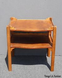 Vintage Baker Furniture French Country Style Two Tier Carved Wood Side Table