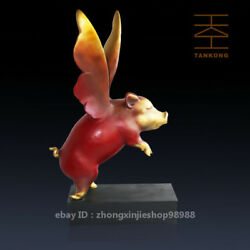 Western Art Deco Sculpture Dream Pig With Wings Flying Bronze Statue Figurine