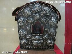 Nepal Temple Old Copper Silver Silk Cloth Eight Treasures Buddhism Tangka