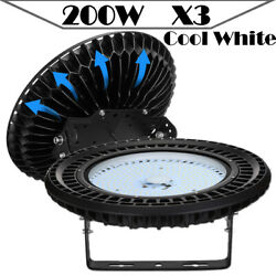 3X 200W UFO LED High Bay Light Warehouse Factory Fixtures Mall Market Cool White