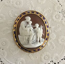 Victorian Shell Cameo Brooch/pendant Of Mary, Jesus, And John The Baptist