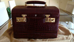 Red Alligator Travel Beauty Case Handmade In Italy With 2 Bottom Drawers.