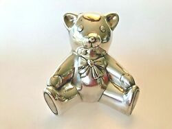 And Co. Sterling Silver Teddy Bear Piggy Bank In Pouch And Box