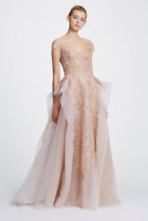 NWT Designer Couture Cap Sleeve Pebble Organza Ball Gown
