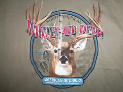 Whitetail Deer Hunting America Outdoors Taupe Graphic Print T Shirt - L
