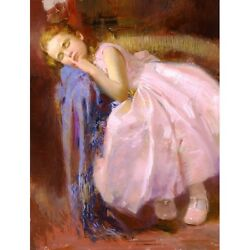 Pino Giclee Canvas S/ Party Dream Pink Dress Little Girl With Coa 21x16