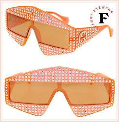 GUCCI HOLLYWOOD FOREVER 0357 Orange Crystal Unisex Mirrored Sunglasses GG0357S