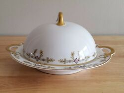 Antique Haviland Limoges France Gold Accent Round Covered Butter Dish 1876-1931