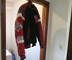 Xl Phillies World Series Mlb Mens G-iii Sports Suede Leather Jacket Carl Banks