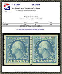 496a Small Holes Mnh Coil Line Pair Pse Graded 95 Pse Certificate 01348273