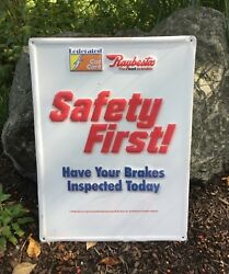 Vintage Federated Car Care Raybestos Safety First Brake Embossed Sign