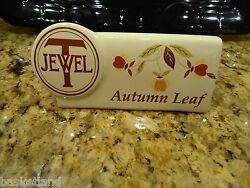 HALL CHINA JEWEL TEA AUTUMN LEAF POTTERY SHELF SIGN BARRINGTON STORY ON BACK