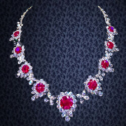 GRS CERTIFIED RUBY NECKLACE 9 CERTIFIED NATURAL 10.37CT CENTER RUBY CUSHION CUT