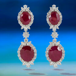 AGT SWISS CERTIFIED RUBIES 32.68CTTW ROUND MARQUISE PEAR 8.65CT DIAMOND EARRING