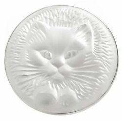 LALIQUE CAT CLEAR FROSTED CRYSTAL DOMED CIRCLE PIN BROOCH PENDANT