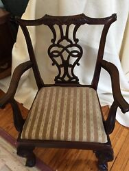 Georgian Baker Arm Chair Lot Of 8 Ball And Claw Front Serpentine Rail Mint Cond
