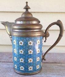 Victorian Coffee Pot Chicken Wire And Flowers Enameled / Graniteware And Pewter