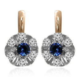Russian Style Sapphire And Diamond Flower Earrings 14k Solid Two-tone Gold H-s2