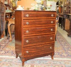 English Antique Mahogany Wood 5 Drawer Chest | Bedroom Furniture Cabinet