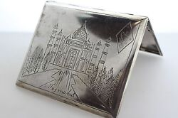 Antique Sterling Silver Cigarette Box W/ Hand Engraved Taj Mahal And India Map