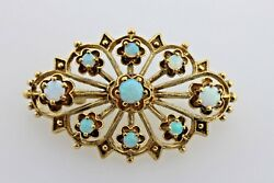 Antique Estate 14K Yellow Gold Opal Cluster Victorian Floral Design Brooch Pin