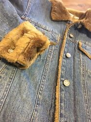 HURLEY Womens Jean Jacket Faux Mink Fur-Lined Sparkle Buttons Medium bx45