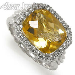 Citrine And Diamond Ring In 14k Solid White Gold, Exclusive Item R1321