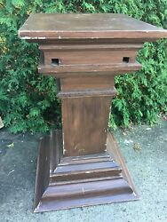 Antique Massive Carved Wood Pine Newel Post Plant Stand Architectural Salvage