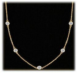1.17 Ct Round Diamond By The Yard 14k Yellow Gold Necklace 9 X 0.13 G-h Vs/si1