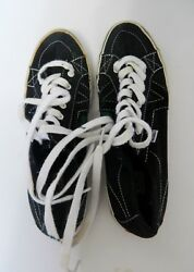 Ladies Athletic Tennis Van Shoes Black White Stained W/ Green Paint Size Us 8