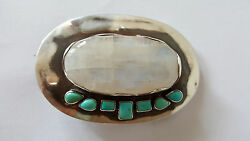 Sterling Silver Belt Buckle With Huge Rainbow Moonstone Mexican Turquoise 127gr