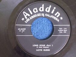 Lloyd Glenn/long Gone Parts 1 And 2/1950s/aladdin Records 45-3459/vg+ And Mint-