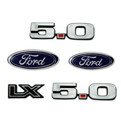 1987-1993 Mustang Fender Bumper And Trunk Emblems Set Lx 5.0 And Ford Oval Badges
