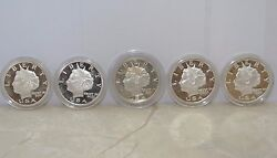 5 American Liberty 1 Ounce .999 Fine Silver Coins 10 Norfed Trust In God 2005