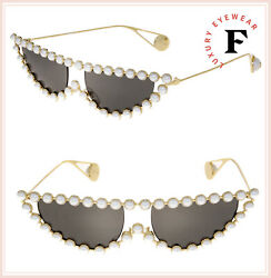 GUCCI HOLLYWOOD FOREVER 0364 Gold Faux Pearl Cat Eye Metal Sunglasses GG0364S