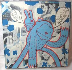 BLOO PAINTING MONKEY BUNNY GRAFFITI HEY BITCHES STREET ARTIST OUTSIDER CANVAS