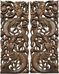 Mermaid Carved Wood Wall Art Panels. Asian Home Decor.brown Extra Thick Set Of 2