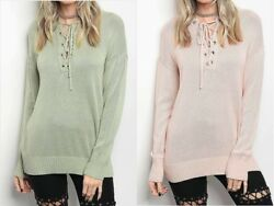 Ladies Sweater Tunic Length Drop Shoulder Women#x27;s Top Cotton Blend Pink or Green $12.90