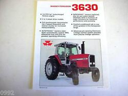 Massey Ferguson 3630 2wd And 4wd Farm Tractor Spec Sheet 1988 2 Page Very Good