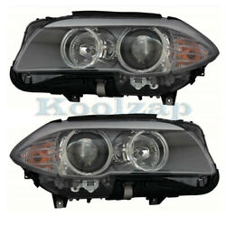 11-13 Bmw 5-series Front Headlight Headlamp Halogen Head Light Lamp Set Pair