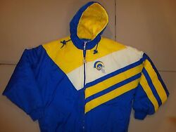 Blue And Yellow Vintage St. Louis Rams Logo 7 Nfl Sewn Game Day Hooded Parka Men M