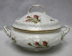 Rosenthal China Moss Rose Sanssouci White Round Covered Vegetable Serving Bowl