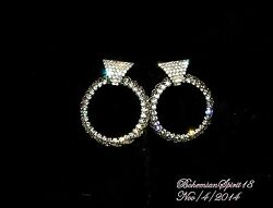 VINTAGE ESTATE RETRO HIGH END LONG CLEAR RHINESTONE HOOP PIERCED EARRINGS