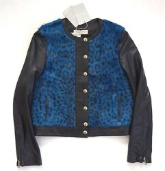 10400 🆕authentic Emilio Pucci Animal Print Leather And Fur Jacket It-40 Us-4/6 S