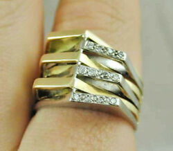 Vintage 18ct Yellow And White Gold And Diamond Statement Ring Dated 1979 Size V