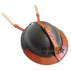 Wwii Ww2 Uk British Army Mk2 Brodie Steel Helmet And Leather Cover Belt Carrier