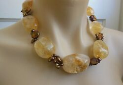Deb Guyot Designs Chunky Citrine Nugget And Cultured Freshwater Pearl 18 Necklace