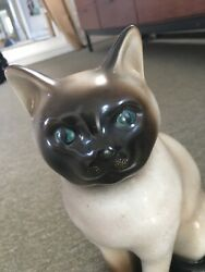 Rare Fornasetti Siamese Sitting Cat Mid Century Italy Signed Gilt Details